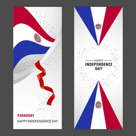 Paraguay Happy independence day Confetti Celebration Background Vertical Banner set