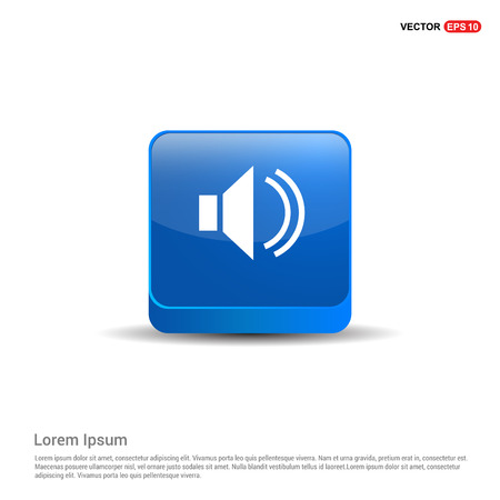 Sound volume icon - 3d Blue Button.