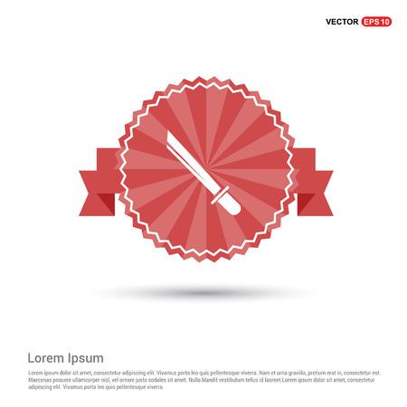 Katana Sword Icon - Red Ribbon banner Illustration