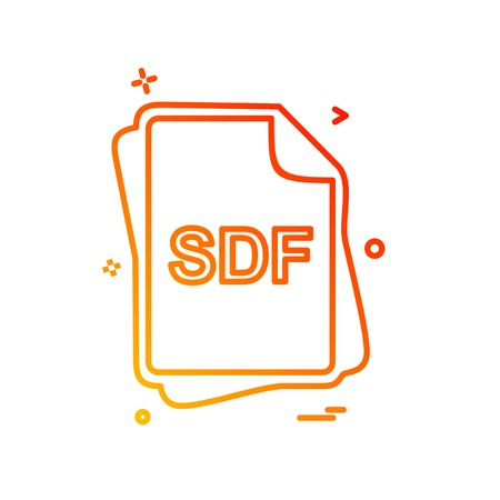 SDF file type icon design vector
