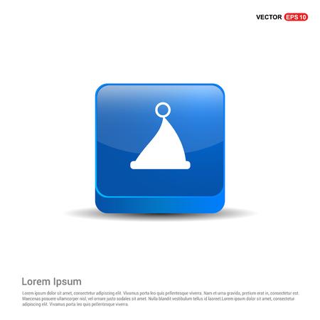 Santa Claus hat Icon - 3d Blue Button. Archivio Fotografico - 118348776