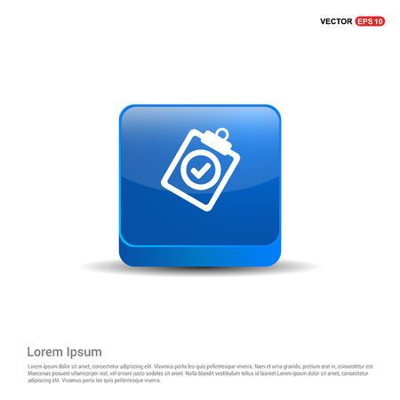 Check List Icon - 3d Blue Button. Çizim