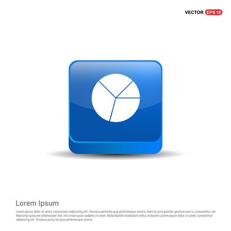 Pie graph icon - 3d Blue Button.