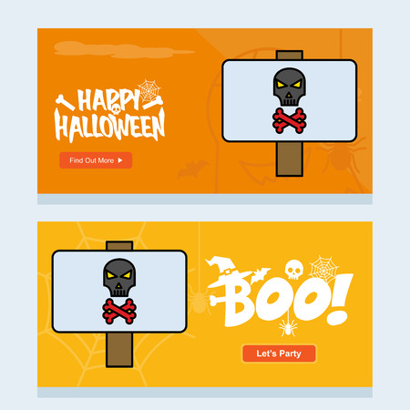 Happy Halloween invitation design with danger board vector