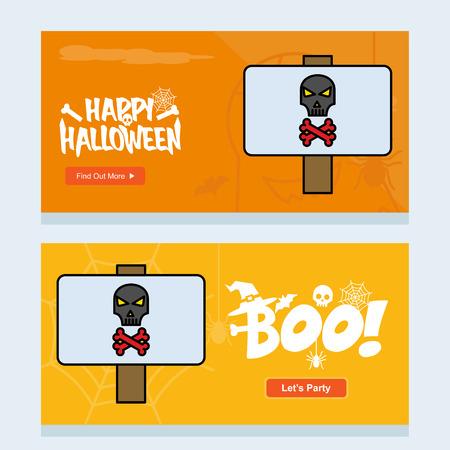 Happy Halloween invitation design with danger board vector Illustration