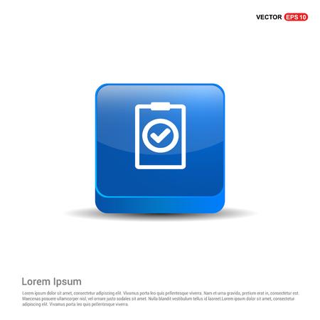 Cheklist Icon - 3d Blue Button.