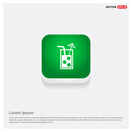 Juice icon. cocktail drink iconGreen Web Button - Free vector icon