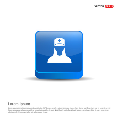 Medical user icon. - 3d Blue Button.