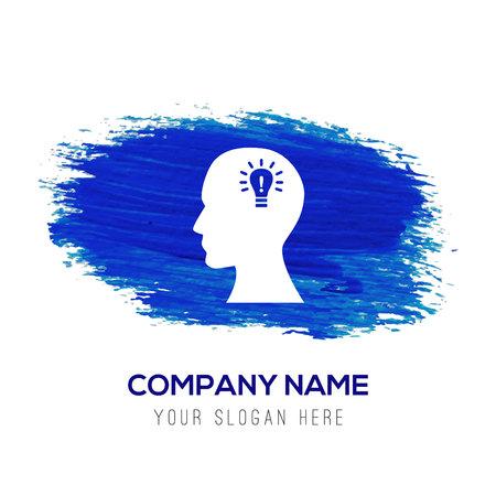 bulb concept Creative idea icon - Blue watercolor background
