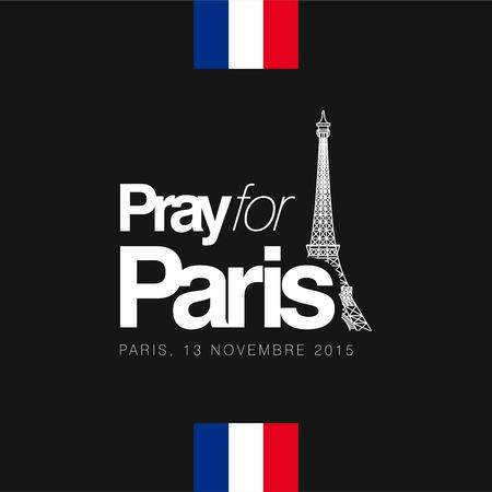 Beten Sie für Pariser Typografie mit kreativem Designvektor