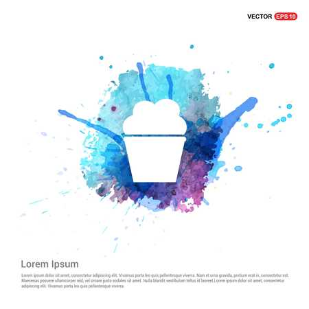 Popcorn exploding inside the packaging icon - Watercolor Background