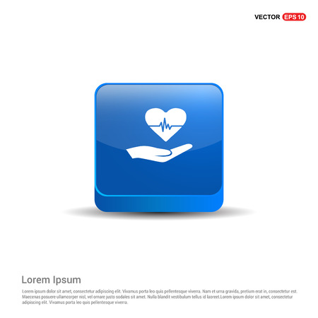 Heart icon - 3d Blue Button. Illustration