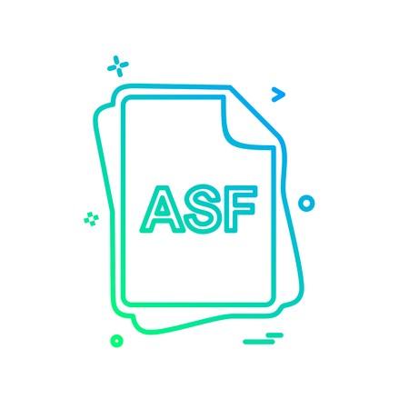 ASF file type icon design vector