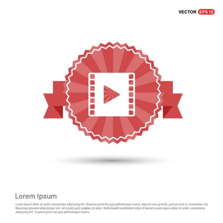 Clapper board icon - Red Ribbon banner Illustration
