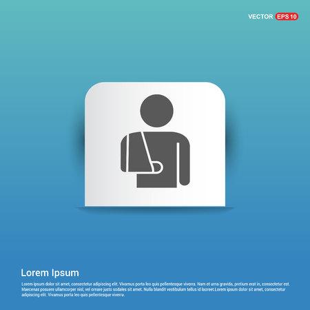 patient, icon - Blue Sticker button Stock Vector - 118351697