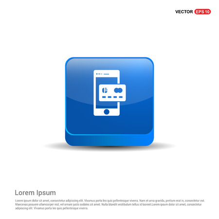 Mobile and Credit card icon - 3d Blue Button.