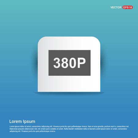 video resolution icon - Blue Sticker button 向量圖像