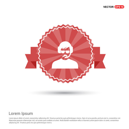 Call user icon - Red Ribbon banner Imagens - 117033592