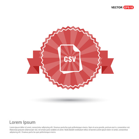 file format icon. - Red Ribbon banner