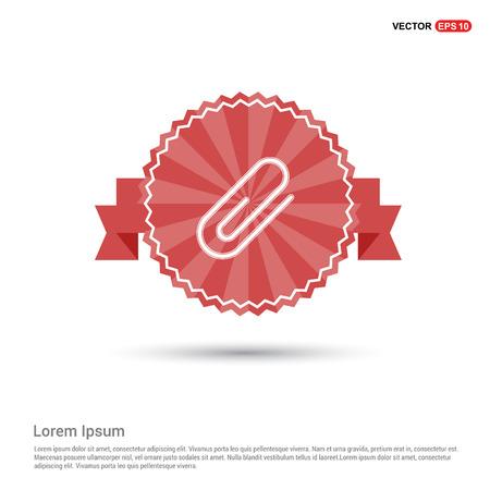 Attach paper clip icon - Red Ribbon banner Illustration