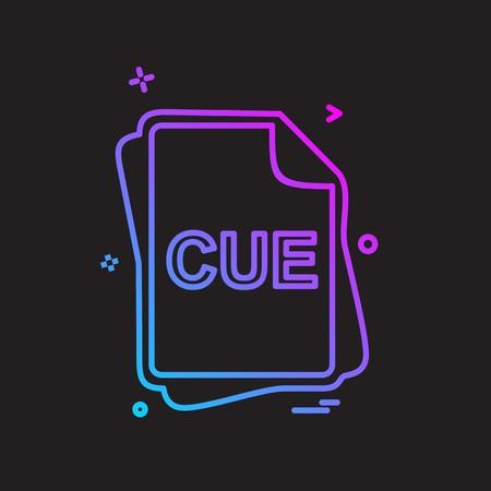 CUE file type icon design vector