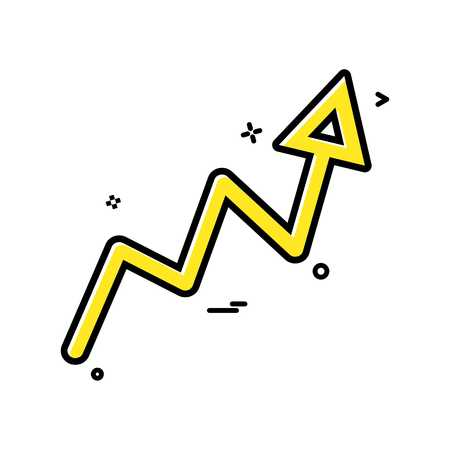 Arrow graph progress up icon vector design