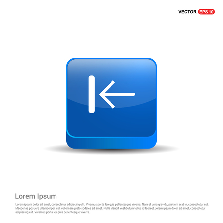 Rewind Arrow Icon - 3d Blue Button. Illustration