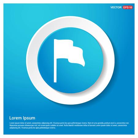 Flag mark icon Abstract Blue Web Sticker Button - Free vector icon