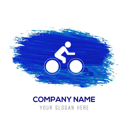 Track Cycling Icon - Blue watercolor background