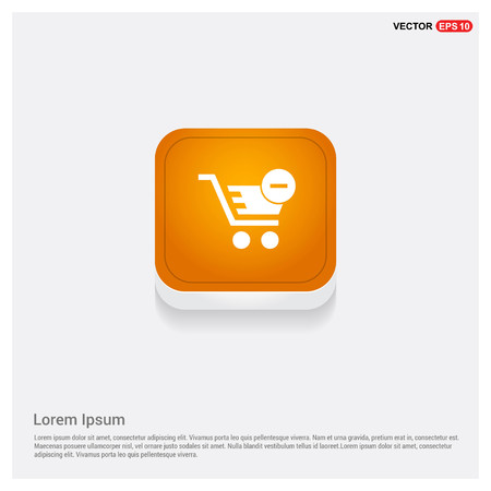 Shopping Cart and Delete Sign Orange Abstract Web Button - Free vector icon