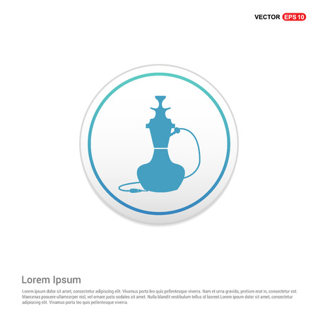 Hookah icon - white circle button Illustration