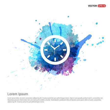 Clock Icon - Watercolor Background