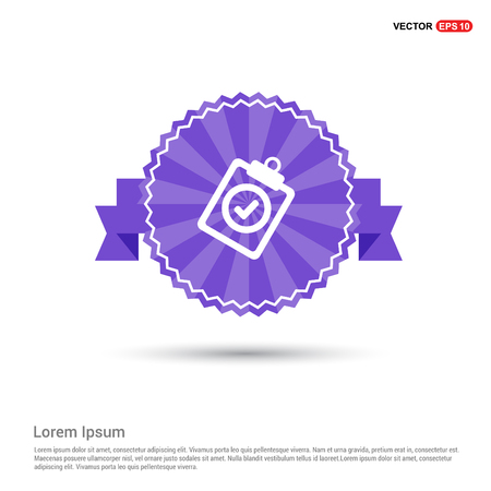 Check List Icon - Purple Ribbon banner