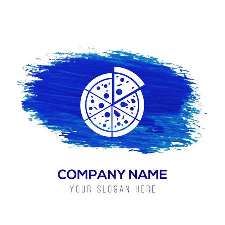 Classic pizza icon - Blue watercolor background