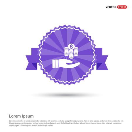 Hand holding money icon - Purple Ribbon banner