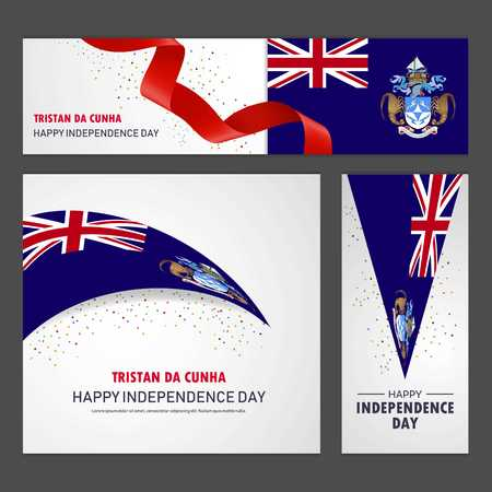 Happy Tristan da Cunha independence day Banner and Background Set