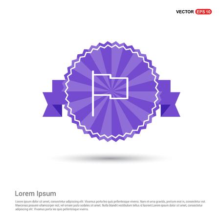 Flag mark icon - Purple Ribbon banner Ilustração