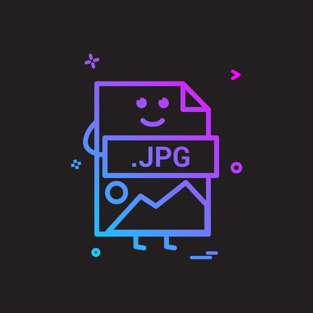 Computer jpg file format type icon vector design