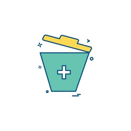 bin trash bucket garbage dust-bin recycle-bin icon vector design