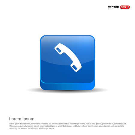 Phone receiver icon. - 3d Blue Button. Vector Illustration