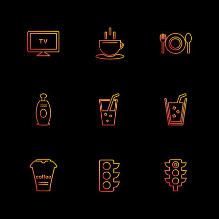 multimedia , camera , user interface  , technology , summer , drink ,  food , board , drinks , tv , bottle , telephone , internet , zoom in , zoom out , icon, vector, design,  flat,  collection, style, creative,  icons Illustration