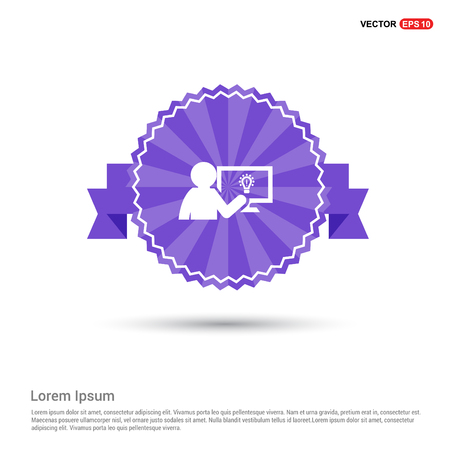 Businessman victory graph Icon - Purple Ribbon banner