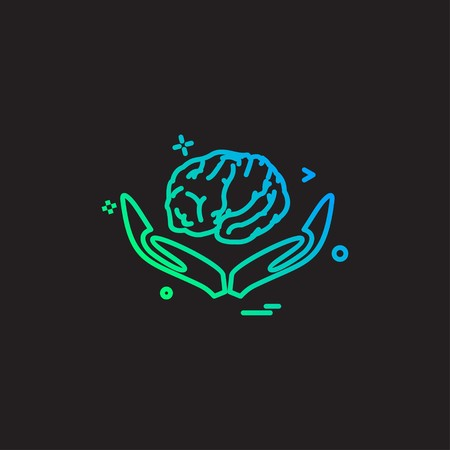 Artificial brain hands intelligence icon vector design