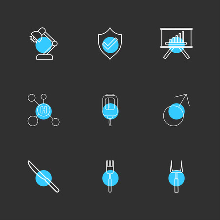 lamp , sheild , graph , hydrogen , drip , male , knife , fork , icon, vector, design,  flat,  collection, style, creative,  icons