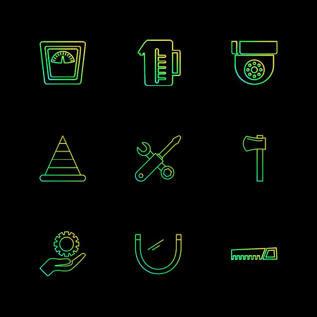 jug , weight machine , cone, saw , axe , hardware , tools ,labour , constructions , icon, vector, design,  flat,  collection, style, creative,  icons , electronics ,