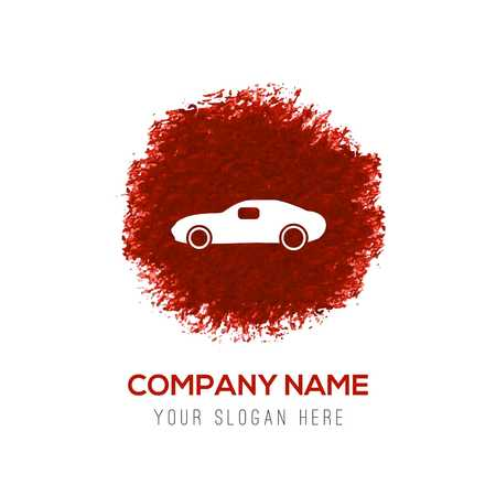 Car icon - Red WaterColor Circle Splash Archivio Fotografico - 118357176