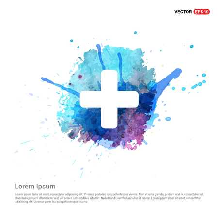 hospital plus sign button icon - Watercolor Background 版權商用圖片 - 118357365