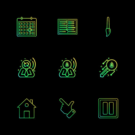 Calender , paint , brush , pause , home  , hand,  crypoto currency , home ,icon, vector, design,  flat,  collection, style, creative,  icons Illustration