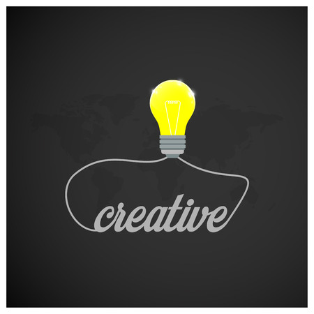 Motivational typography with dark background and bulb icons vector