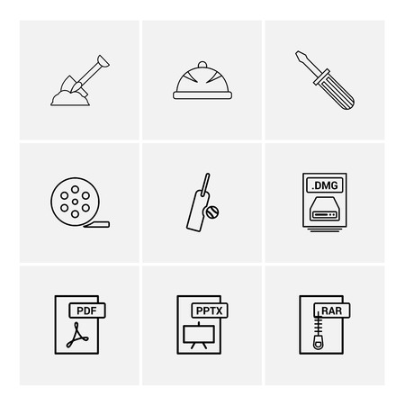 Spade , halmet , screw driver , movie roller,  cricket , bat , ball , dmg apple file , rar , compressed file ,pdf , photoshop , pptx , excel , icon, vector, design,  flat,  collection, style, creative,  icons